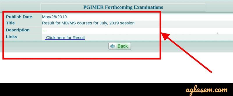 PGIMER MD/MS July 2019 Result Released at pgimer.edu.in