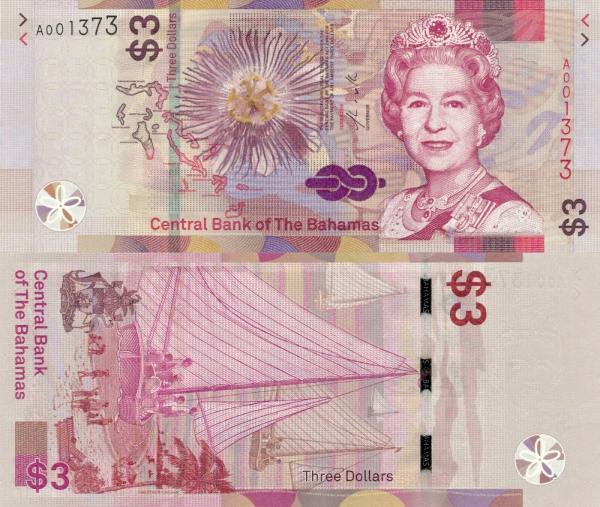 3 Doláre Bahamy 2019 P78 UNC, bankovka
