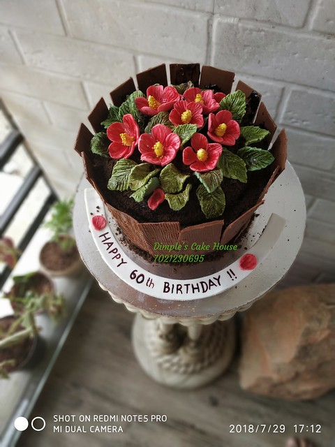 Flower Pot Theme Cake for a Hobby Gardener by Dimple N Thakkar of Dimple's Cake House
