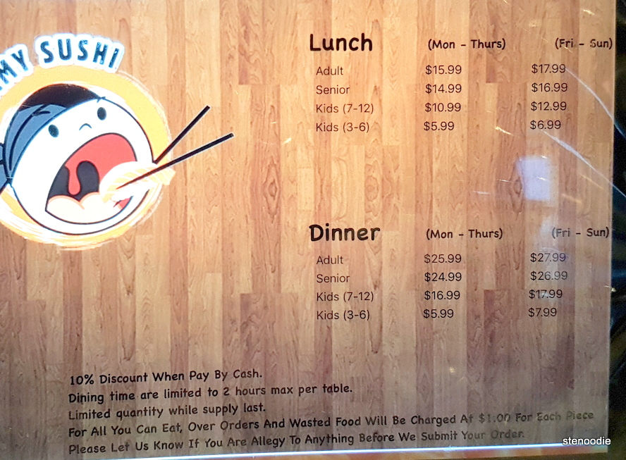 Yummy Sushi AYCE lunch and dinner prices