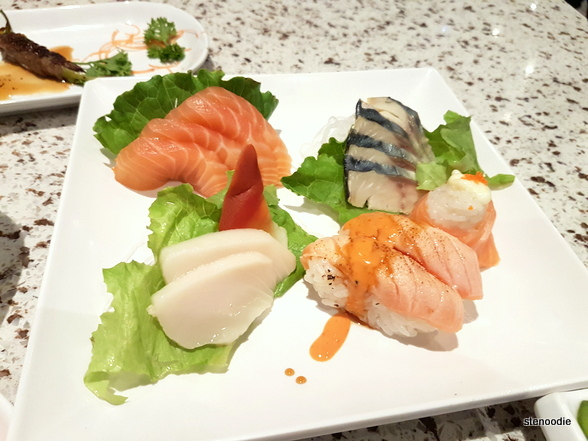 Sashimi and torched sushi