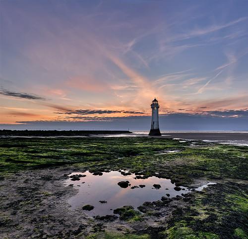 sky lighthouse water reflection sea shore landmark sunset coast cloud horizon beacon newbrightonlighthouse evening dusk sunrise dawn sunlight beach newbrighton river mersey merseyside england uk