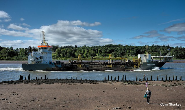 dredger Freeway on the river Clyde Scotland
