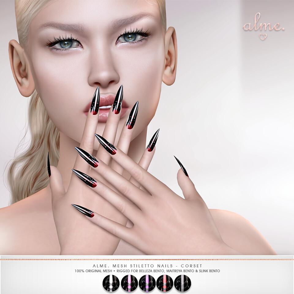 "Alme. for Kinky Monthly event – ""Alme Mesh Stiletto nails//Corset stiletto Nails"" ♥"