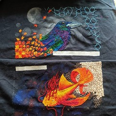 Parts 1 + 2 of 3 done. Or maybe 2 and 3, not sure yet. Raven and space fish and one more taking shape in sketches. #embroidery