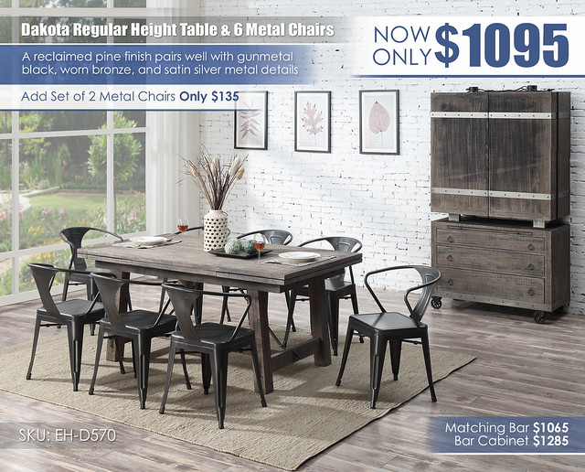 Dakota Regular Dining Table & 6 Metal Chairs_D570-15_New