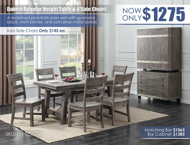 Dakota Regular Dining Table & 4 Wooden Side Chairs_D570-15_New