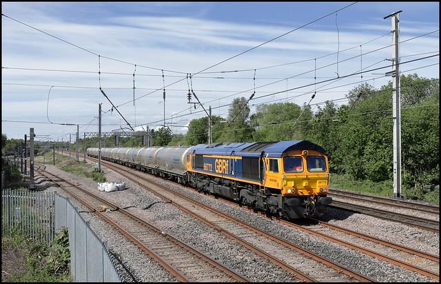 Bamfurlong Junction, GBRf 66772 6V84 MThO (13.25 Clitheroe - Avonmouth Sdgs) 23/05/19.