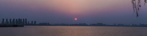 suzhou china lake dushulake building sunlight dusk evening sunset trees water city silhouette landscape panorama