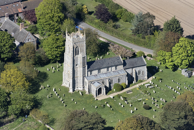St Mary The Virgin Church in Northrepps - Norfolk UK aerial image