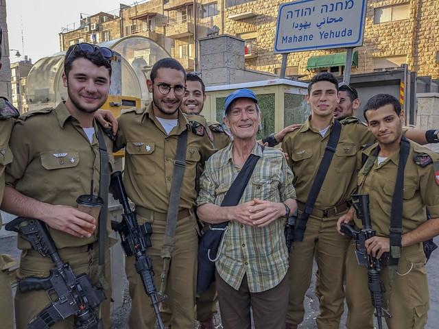 posing with Israeli soldiers in Jerusalem