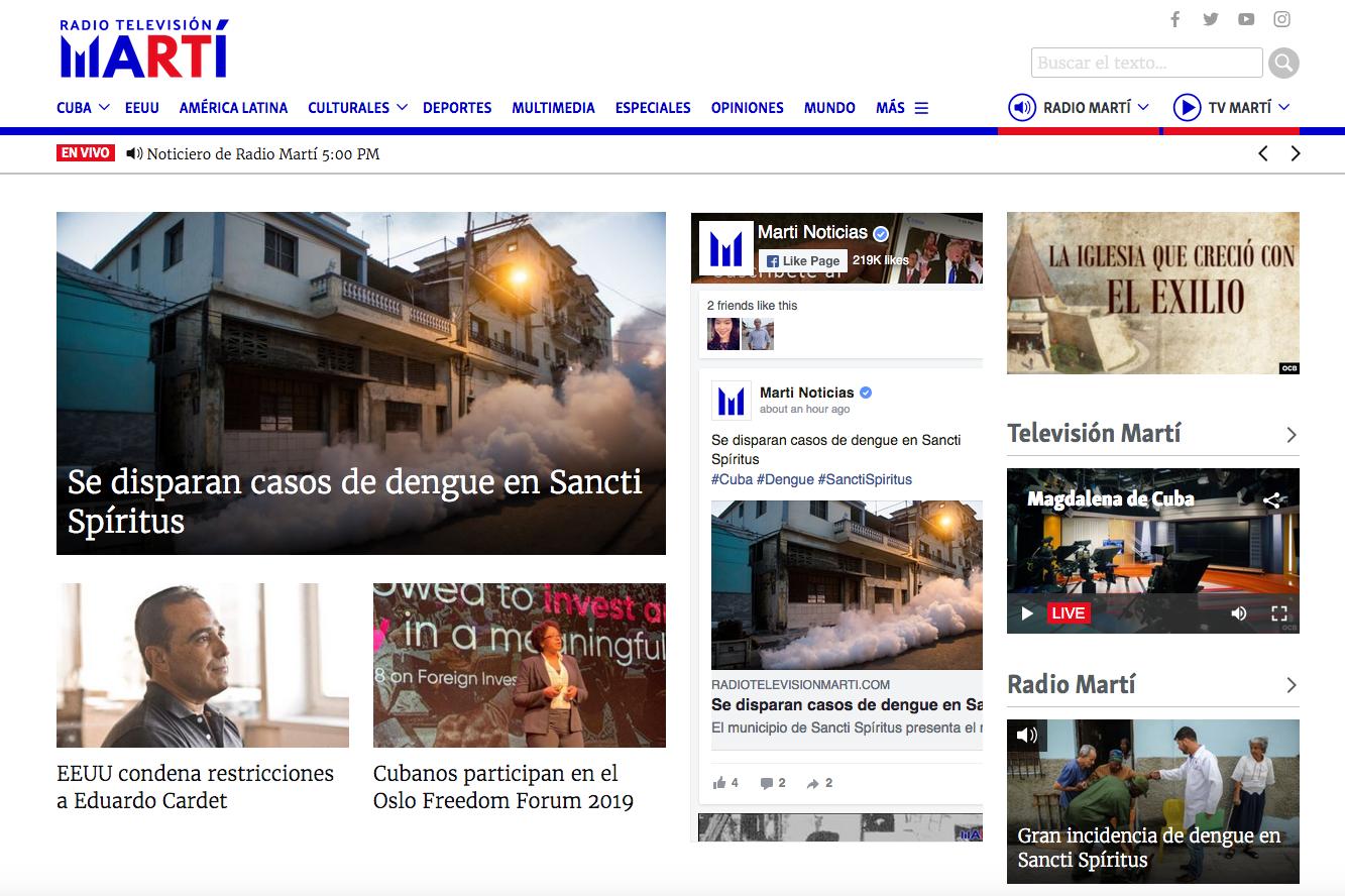 Website da Radio Television Marti