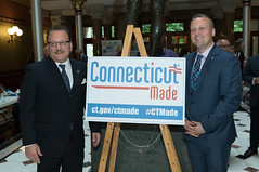 State Rep. Tony D'Amelio and Rep. J.P. Sredzinski during Connecticut Made Day at the Capitol.