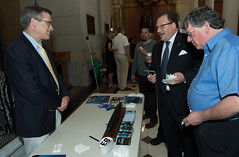 State Rep. Tony D'Amelio talks with a representative from Electric Boat during Connecticut Made Day at the Capitol.