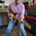 Jesse Tyre picking up his newly purchased 1959 Strat after I took it apart for inspection, neelyguitars.com