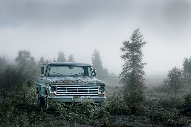 Abandoned Truck Foggy Morning 5726 A