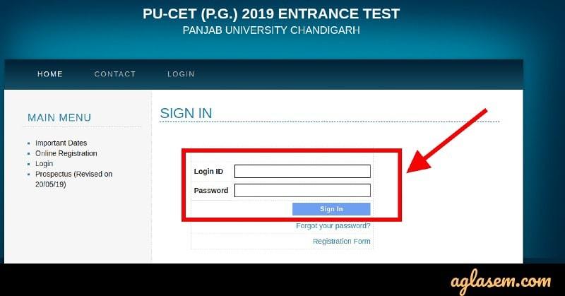 PU CET PG 2019 Admit Card Login