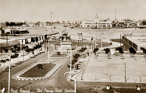 """25 February 1942 - """"No. 1 - Port Fouad - The Ferry-Boat Station"""", Egypt (real photo postcard circa 1930 - restored sepia duo-tone version)"""