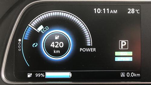 東京秋葉原出発時 日産リーフ e+(62kWh)メーター 冷房ON