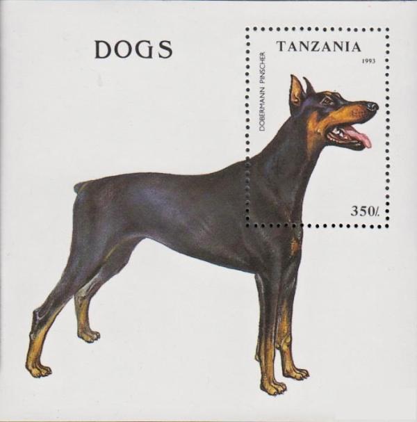 Známky Tanzánia 1993 Psy, nerazítkovaný blok