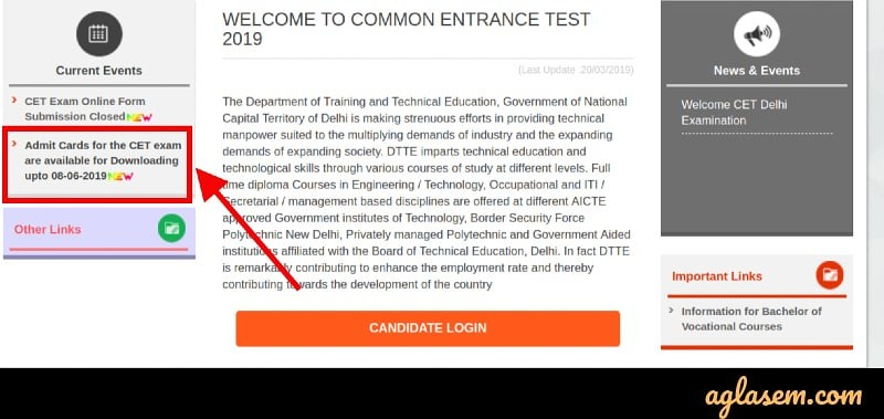 CET Delhi 2019 Admit Card