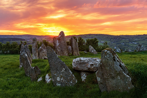 ancient pagan druid druids stone circle standing stones sunset worship monument monuments raphoe county donegal ireland landscape tourist tourism site visit scenic landmark sun set red blue sky summer country side countryside nikon d810 nikor lens gareth wray photography strabane tyrone irish wild atlantic way eire rock rocks granite field national trust colourful clear day horizon bronze age historic famous attraction cloudy photographer vacation europe neolithic outdoor grassland grass plant 2470mm
