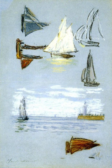P 25 - Claude Monet - Study of sailboats and harbor [1864-68]
