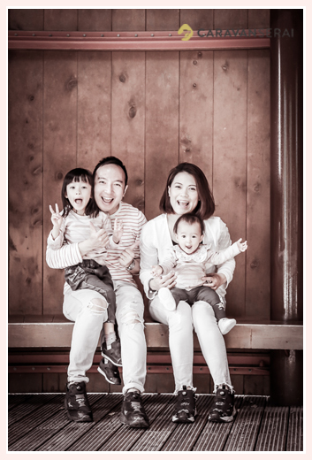 Family photo session in Morikoro Park, Aichi, Japan, monochrome photo
