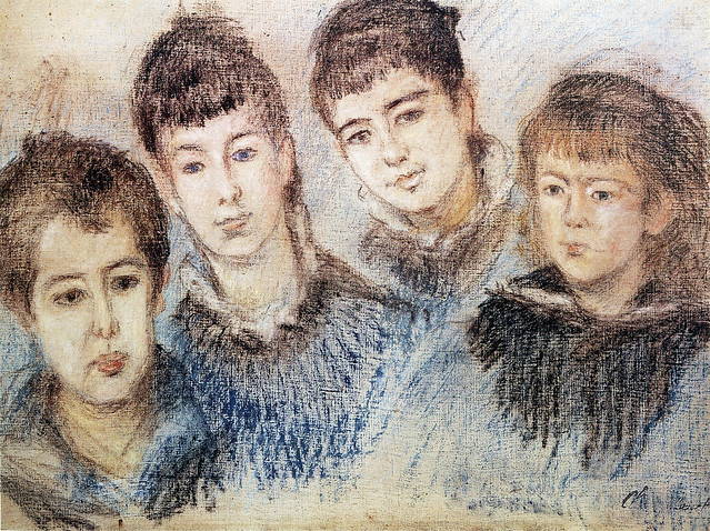 P 68 Claude Monet - The Hoschedé children: Jacques, Suzanne, Blanche et Germaine [1880]