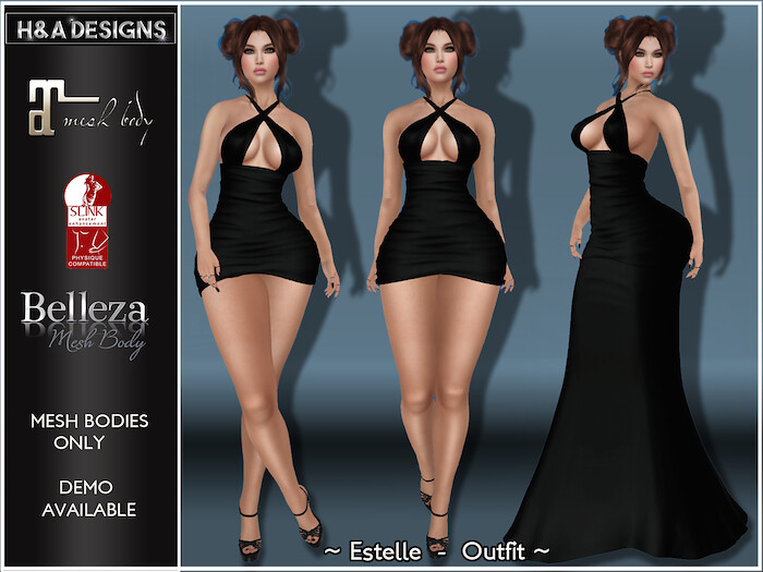 [H&A Designs]-Estelle Dress Outfit Black - TeleportHub.com Live!
