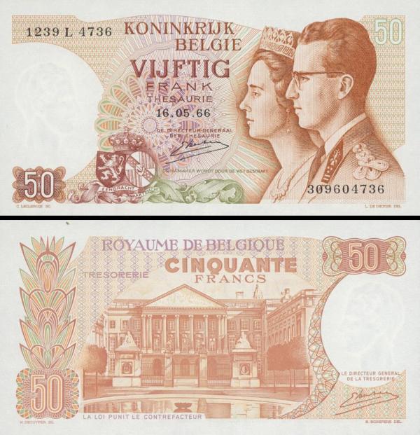 50 Francs Belgicko 1966 P139