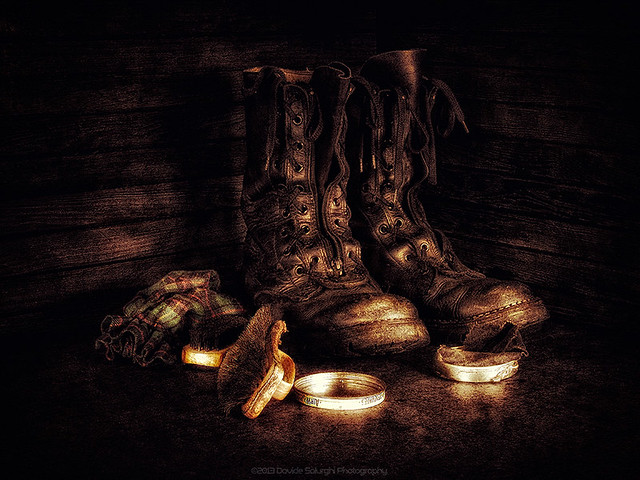 Military boots at rest