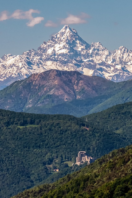view of Monviso and Sacra di San Michele, susa valley, piedmont, italy.