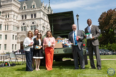 State Representatives Themis Klarides, Stephanie Cummings, Rosa C. Rebimbas, Nicole Klarides-Ditria, David K. Labriola and State Senator George Logan participated in the annual Stuff a Humvee event to raise food and non-perishable items for Connecticut veterans.