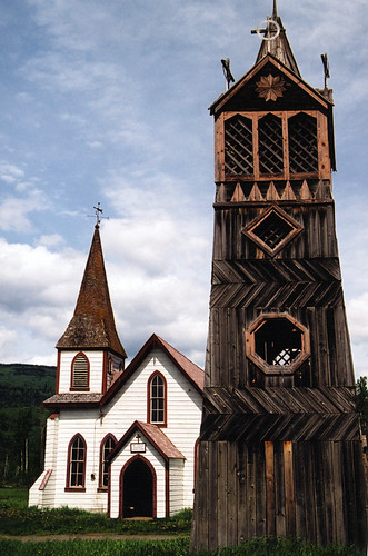 Wooden watchtower next to an old church in Hazelton, BC, Canada