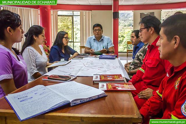 Coordinación de los integrantes de la plataforma de Defensa Civil Echarati