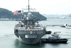 USS Blue Ridge (LCC 19) approaches the pier at Fleet Activities, Yokosuka, May 29. (U.S. Navy/MC1 Aaron Chase)