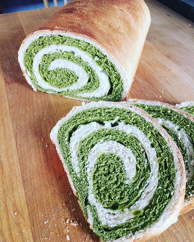 Matcha swirl bread. 🍵🍞 #matcha #bread #baking #matchabread #matchaswirlbread