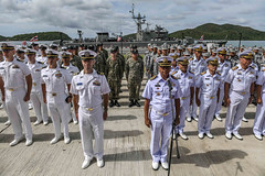 U.S. and Royal Thai Navy Sailors stand in formation together during the opening ceremony of CARAT Thailand 2019, May 29. (U.S. Navy/MC1 Greg Johnson)