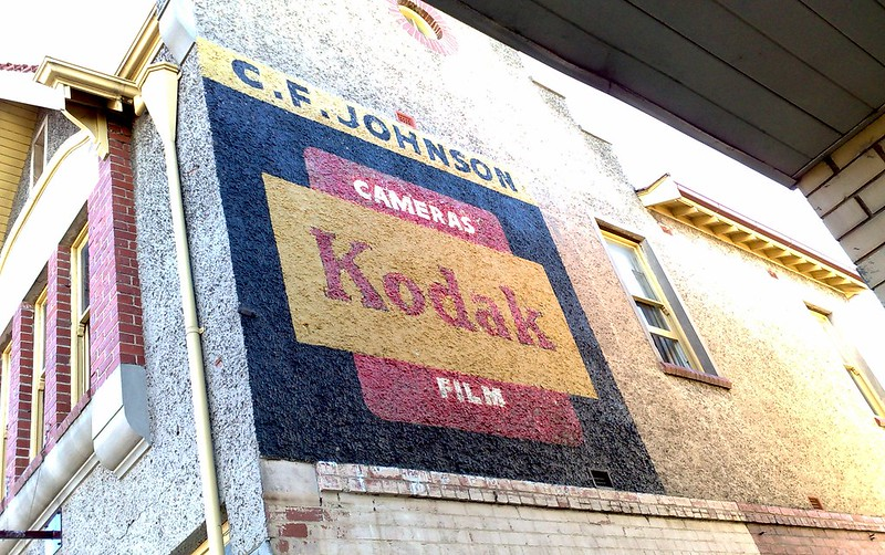 Old Kodak advertising on side of chemist in Ripponlea, May 2009