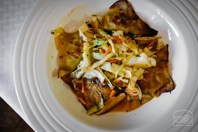 Edamame Dumplings w/ Braised Cabbage, and Shitake Mushroom Broth - Madeleiene Maries Catering
