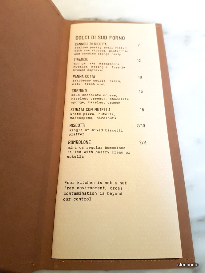 Sud Forno dessert menu and prices