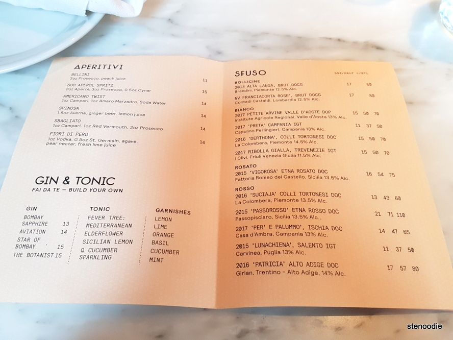 Sud Forno drinks menu