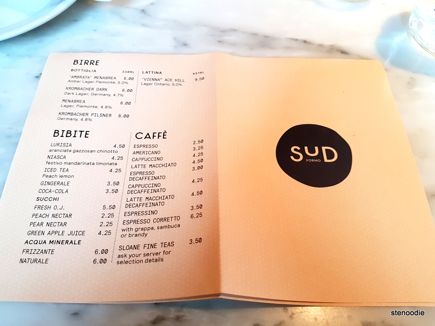 Sud Forno drinks menu and prices