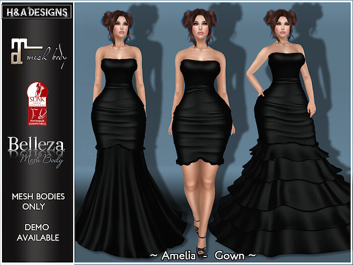 [H&A Designs]-Amelia Dress Outfit Black