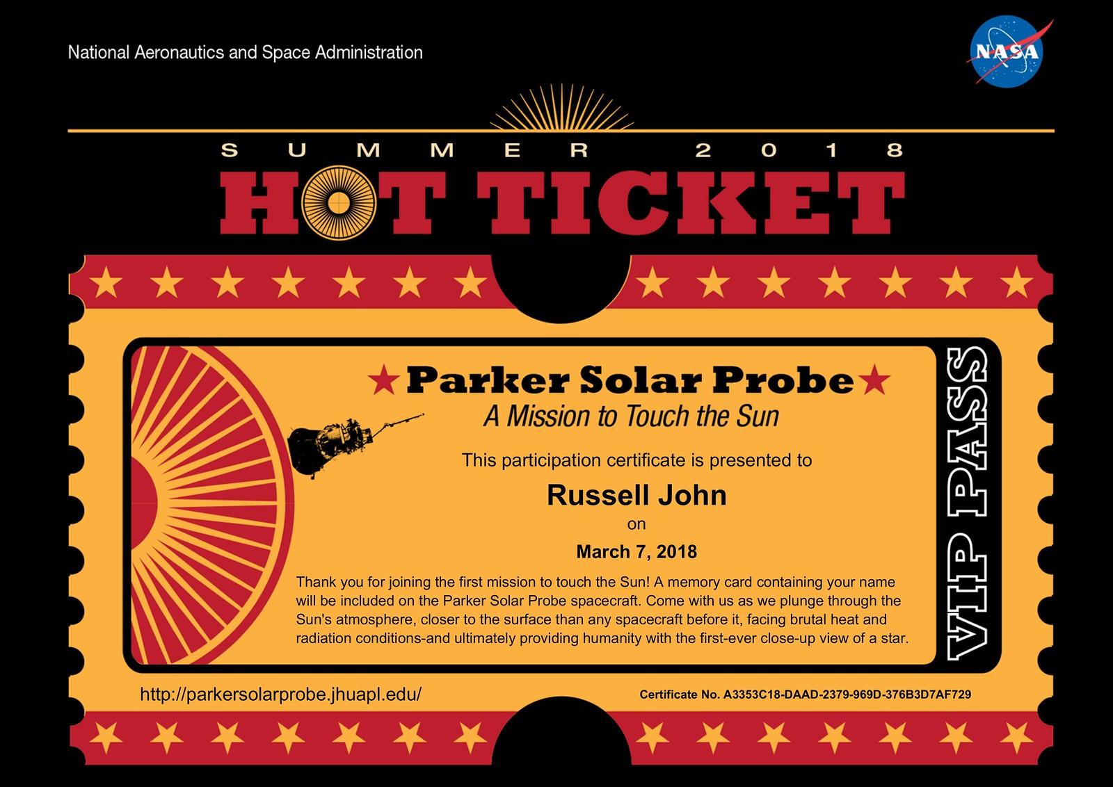 Parker Solar Probe Certificate