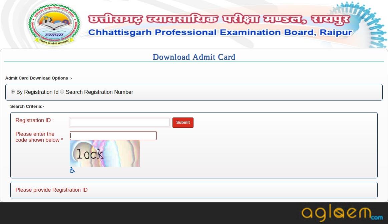 CG Pre B.Ed 2019 Admit Card Login