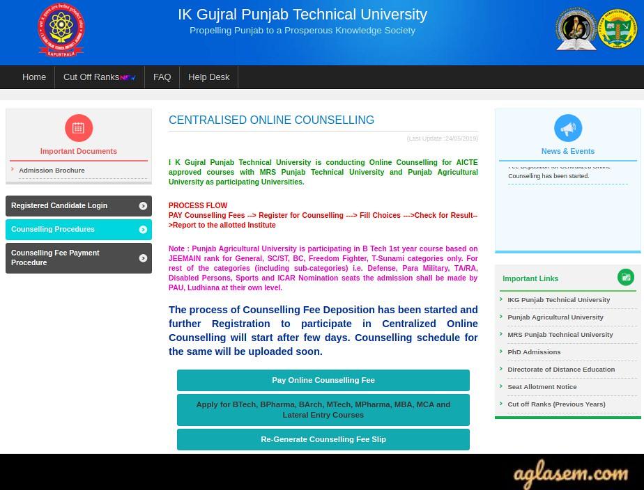 PTU Counselling Registration 2019 | AglaSem Admission
