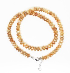 Citrine Silver Coated Faceted Roundel Necklace