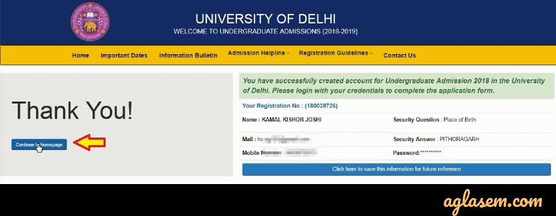 DU Registration 2019-20
